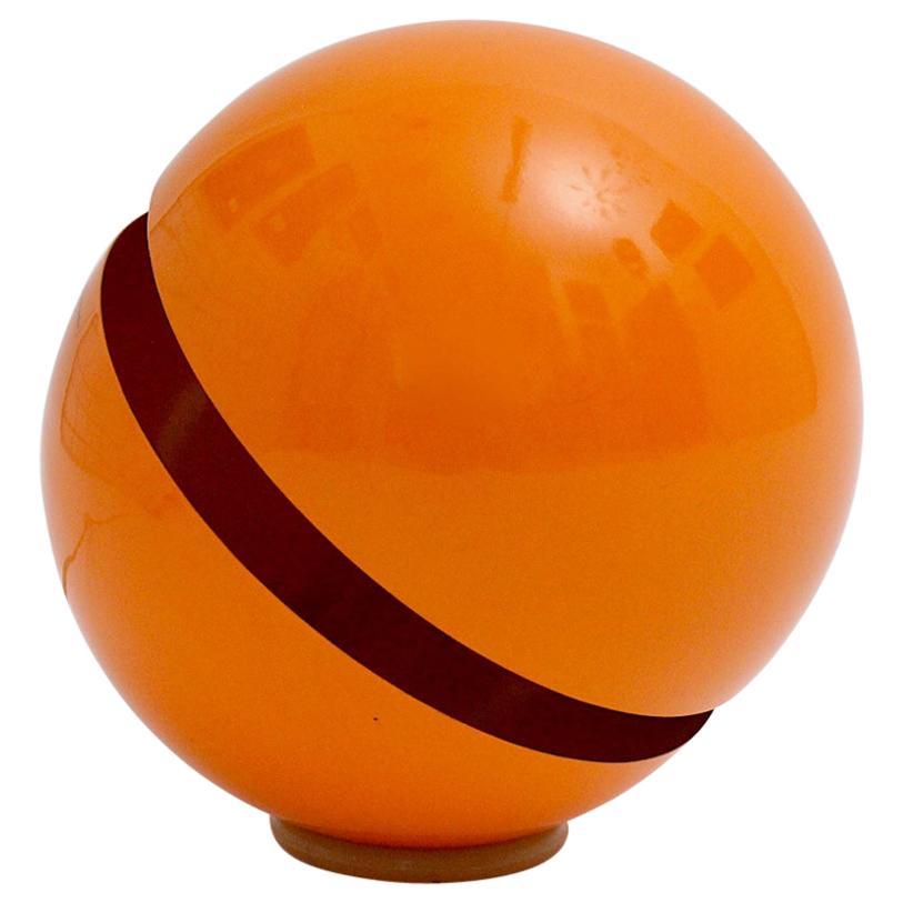 Modernist Orange Plastic Globe Table Lamp Andrea Modica for Lumess Switzerland