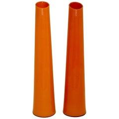 Modernist Orange Vintage Glass Vases, Italy, circa 1990