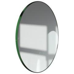 Modernist Orbis Round Mirror with Green Frame, Regular, Customizable