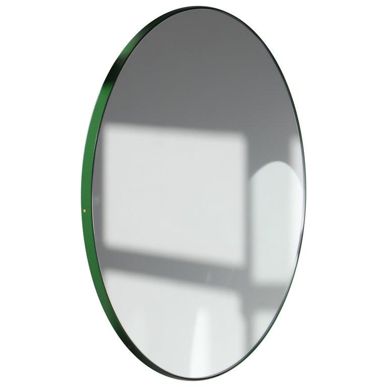 Modernist Orbis Round Mirror with Green Frame, Regular, Customizable For Sale