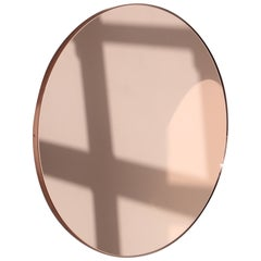 Modernist Orbis™ Round Rose Gold Mirror with Copper Frame, Regular, Customizable