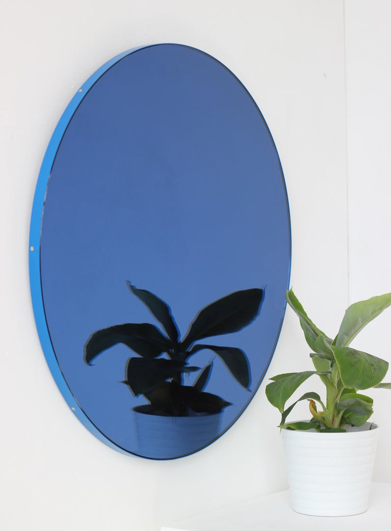 Contemporary Modernist Orbis Round Mirror with Blue Tint and Blue Frame, Regular Customizable For Sale