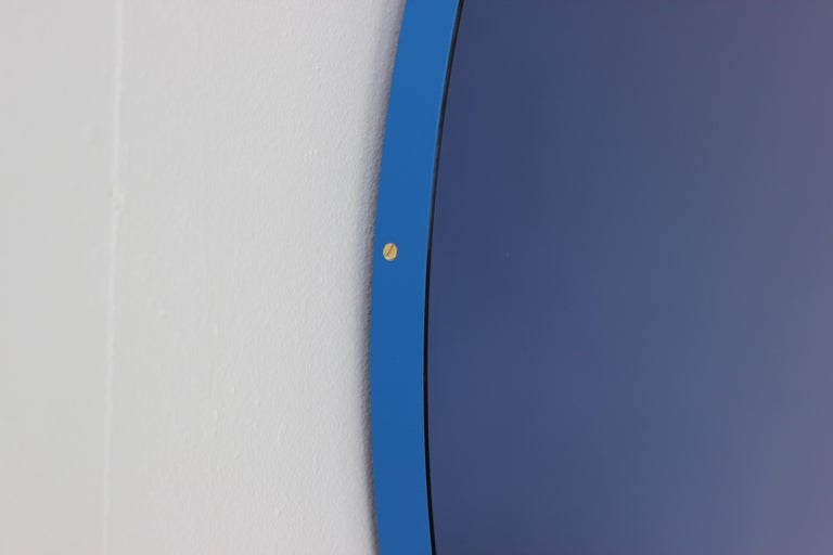 Modernist Orbis Round Mirror with Blue Tint and Blue Frame, Regular Customizable For Sale 2