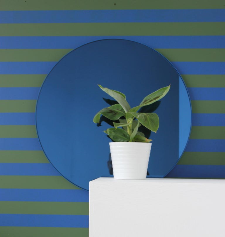 Modernist Orbis Round Mirror with Blue Tint and Blue Frame, Regular Customizable For Sale 3