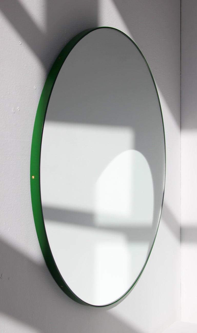 Organic Modern Modernist Orbis Round Mirror with Green Frame, Regular, Customizable For Sale
