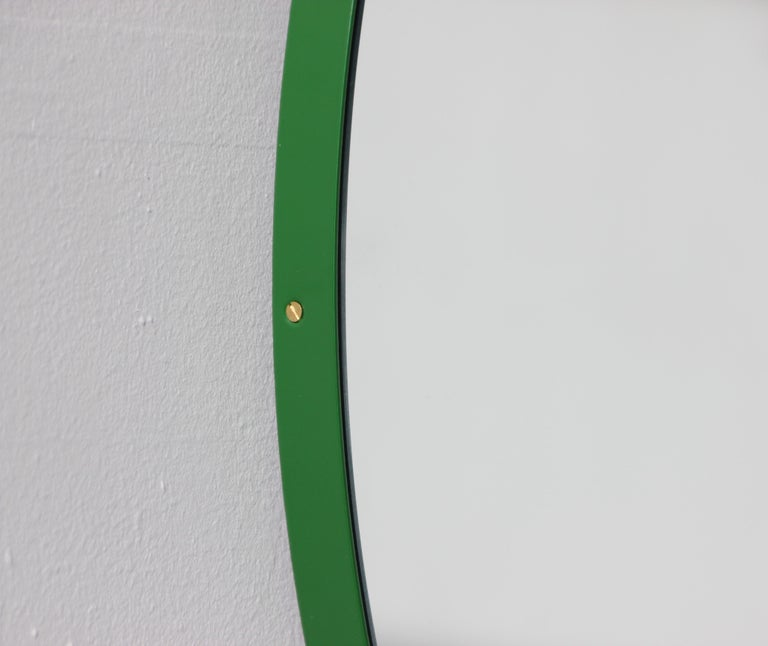Contemporary Modernist Orbis Round Mirror with Green Frame, Regular, Customizable For Sale