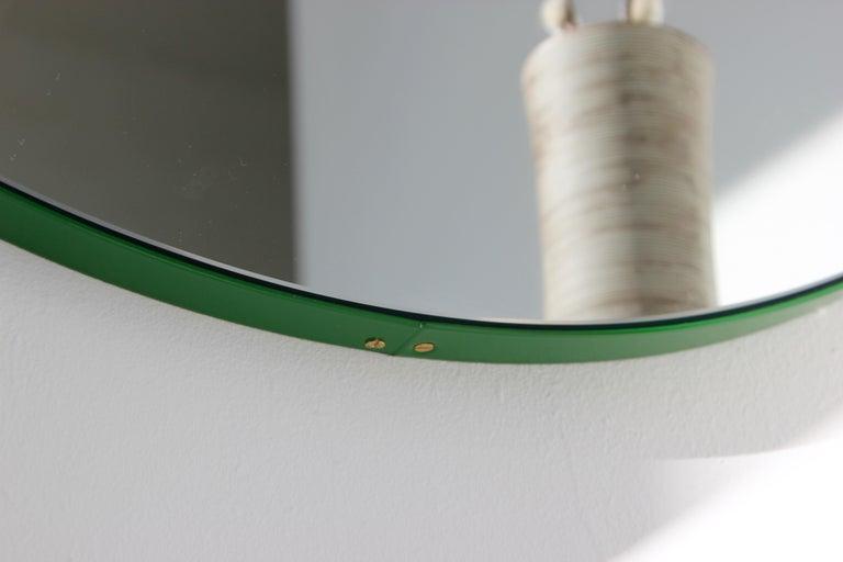 Modernist Orbis Round Mirror with Green Frame, Regular, Customizable For Sale 1