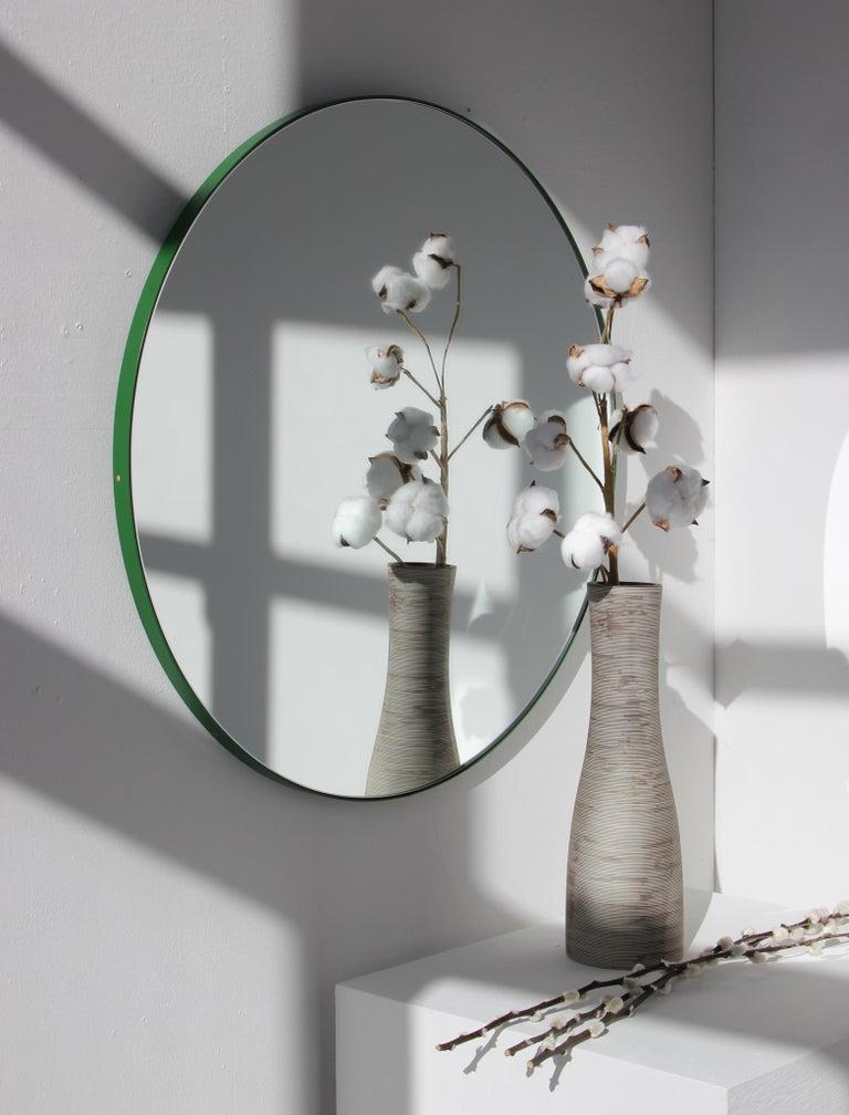 Modernist Orbis Round Mirror with Green Frame, Regular, Customizable For Sale 2
