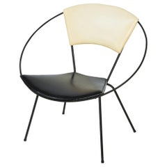 Modernist Orbit Style Hoop Chair with Black Iron Frame, circa 1960s