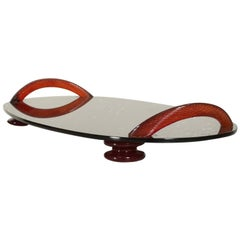 Modernist Oval Serving Tray in Smoke Glass with Red Ruby Glass Handles and Sabot