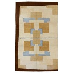 Modernist Oversized Geometric Design American Hooked Rug
