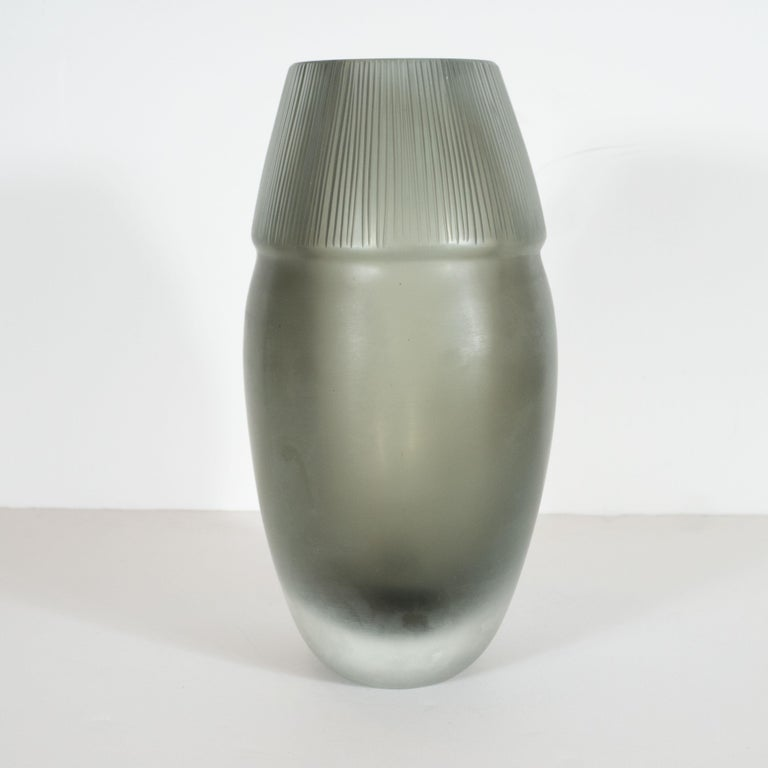 Contemporary Modernist Ovoid Handblown Murano Ribbed Frosted Graphite Glass Vase For Sale