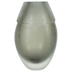 Modernist Ovoid Handblown Murano Ribbed Frosted Graphite Glass Vase