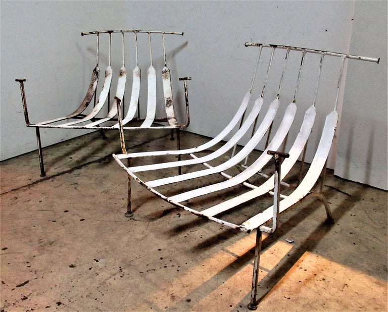 Rare Iron Lounge Chairs by Russell Woodard For Sale 10