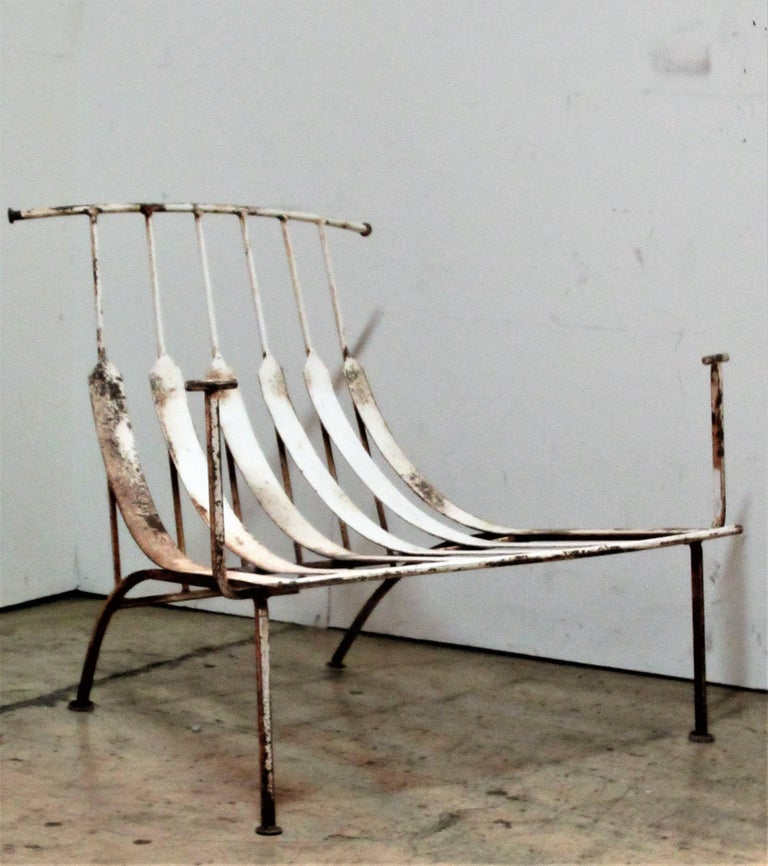 Rare Iron Lounge Chairs by Russell Woodard For Sale 3