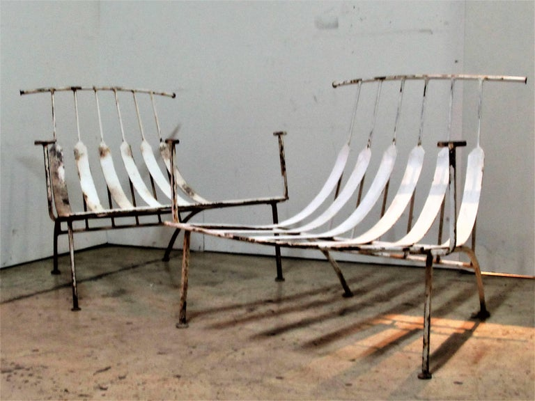 Rare Iron Lounge Chairs by Russell Woodard For Sale 6