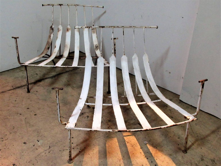 Rare Iron Lounge Chairs by Russell Woodard For Sale 9