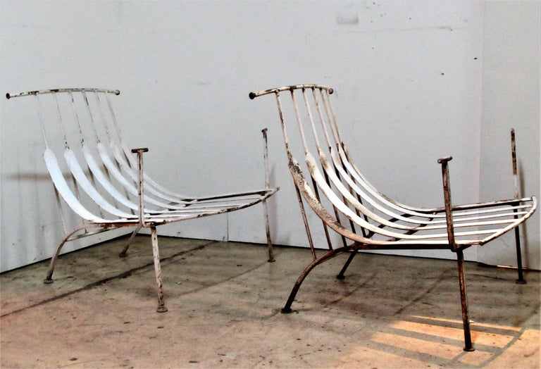 Mid-Century Modern Rare Iron Lounge Chairs by Russell Woodard For Sale