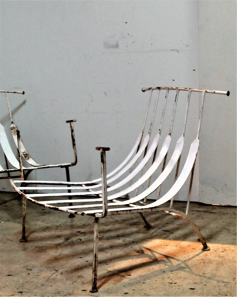 Rare Iron Lounge Chairs by Russell Woodard In Good Condition For Sale In Rochester, NY
