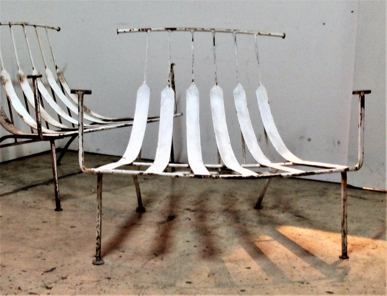 Wrought Iron Rare Iron Lounge Chairs by Russell Woodard For Sale