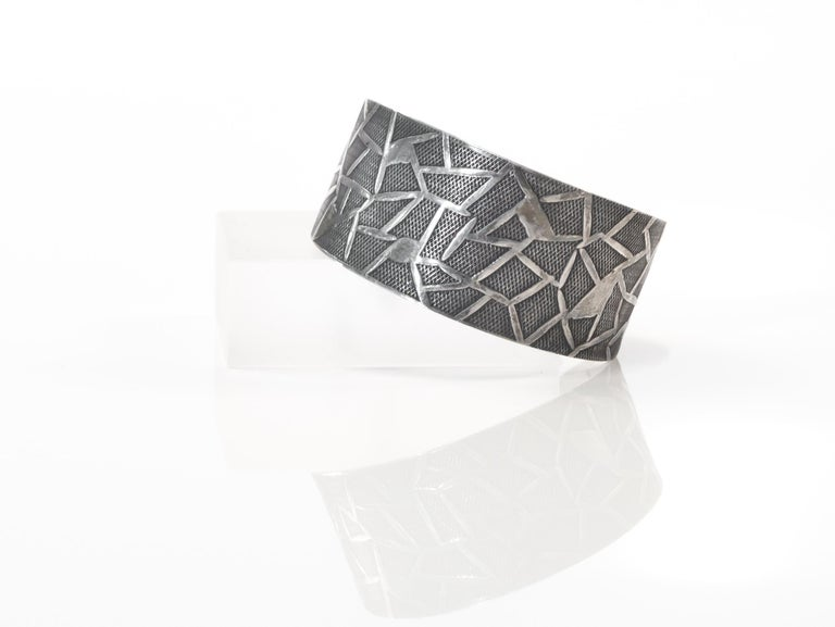 Modernist Oystein Balle Silver Bracelet, Norway, 1960s In Good Condition For Sale In Oslo, NO
