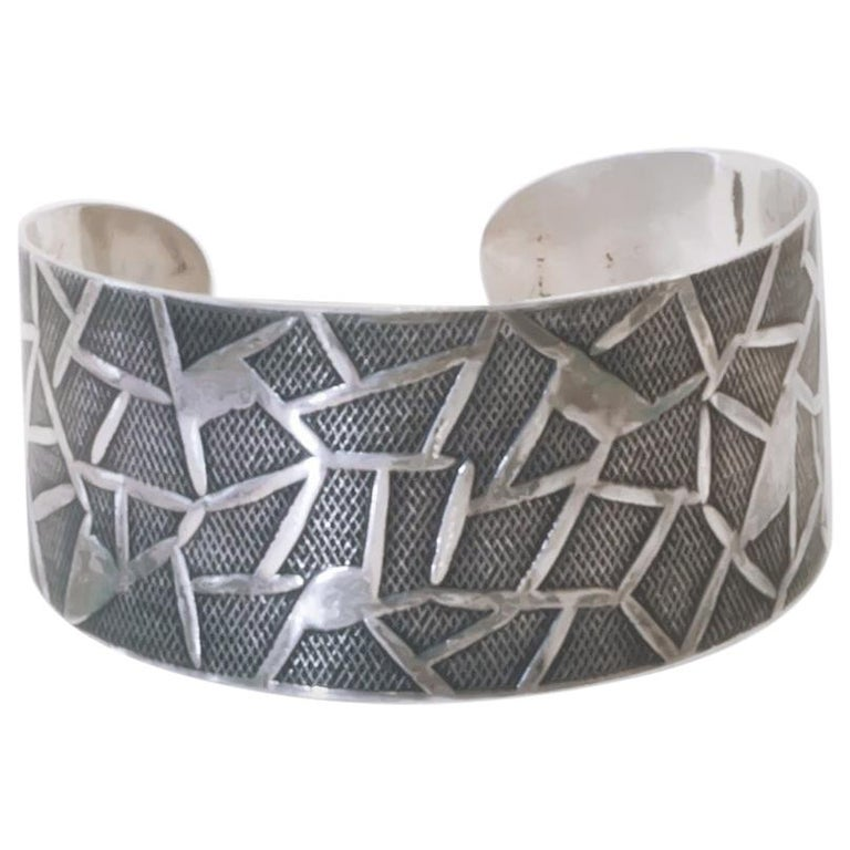 Modernist Oystein Balle Silver Bracelet, Norway, 1960s For Sale