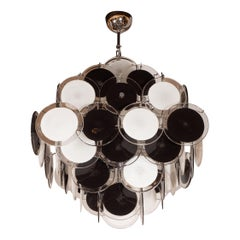 Modernist Pagoda Style Disc Chandelier in Handblown Murano Black and White Glass