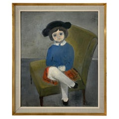 Modernist Painting of a Young Girl by Sophia Morales, Spain, Ca. 1960s