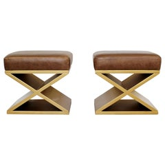 Modernist Pair of Gold Gilt Stools Seats Hollywood Regency Michel Frank Style