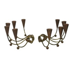Modernist Pair of Brass and Copper Ball Candelabra