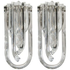 Modernist Pair of Hand Blown Translucent Murano Glass Ribbon Sconces