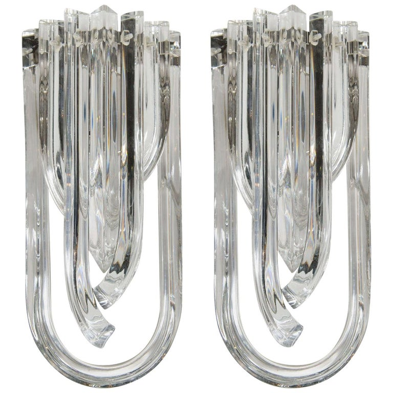 Modernist Pair of Hand Blown Translucent Murano Glass Ribbon Sconces For Sale