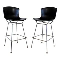 Modernist Pair of Harry Bertoia Knoll High Bar Stools Chrome Black Fiberglass