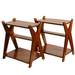 Modernist Pair of Mahogany French Side Tables