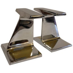 Modernist Pair of Steel I Beam Bookends by Bill Curry for Design line