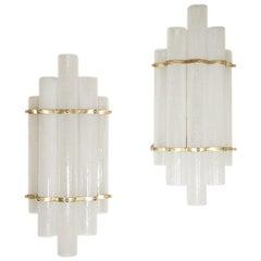 Modernist Pair of Wall Lights Tubular Murano White Glass Shades on Metal Frame