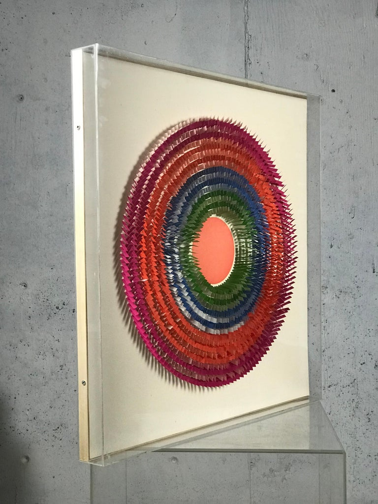 Intricate and beautiful paper sculpture by Irving Harper. Encased/framed in acrylic. From the estate of Irving Harper.  Measures: 31.25