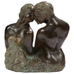 Modernist Patinated Bronze Sculpture Couple in Love