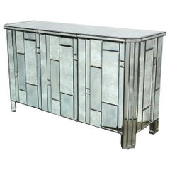 Modernist Pentagonal Form Mosaic Mirrored Cabinet with Ebonized Oak Interior