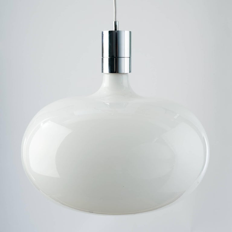 Italian Modernist Pendant Chandelier by Franco Albini in Glass and Chrome, Italy 1960's For Sale
