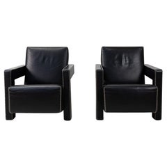 Modernist Period Design Gerrit Rietveld Utrecht Armchairs by Cassina, Set of Two