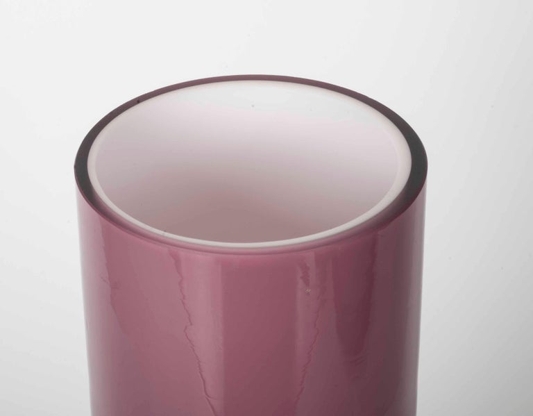 European Modernist Pink and Clear Glass Vase For Sale
