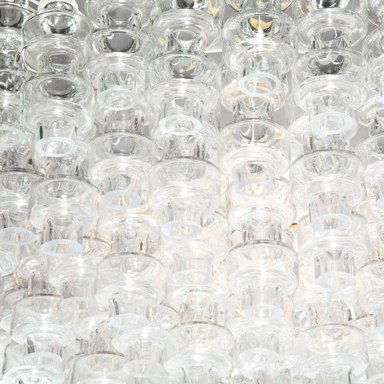 Italian Modernist Polished Brass & Translucent Handblown Murano Glass Barbell Chandelier