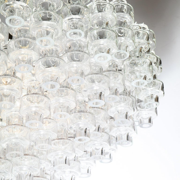 Modernist Polished Brass & Translucent Handblown Murano Glass Barbell Chandelier In New Condition In New York, NY