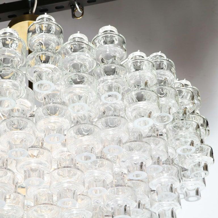 Contemporary Modernist Polished Brass & Translucent Handblown Murano Glass Barbell Chandelier