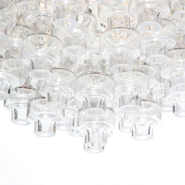 Modernist Polished Brass & Translucent Handblown Murano Glass Barbell Chandelier 1