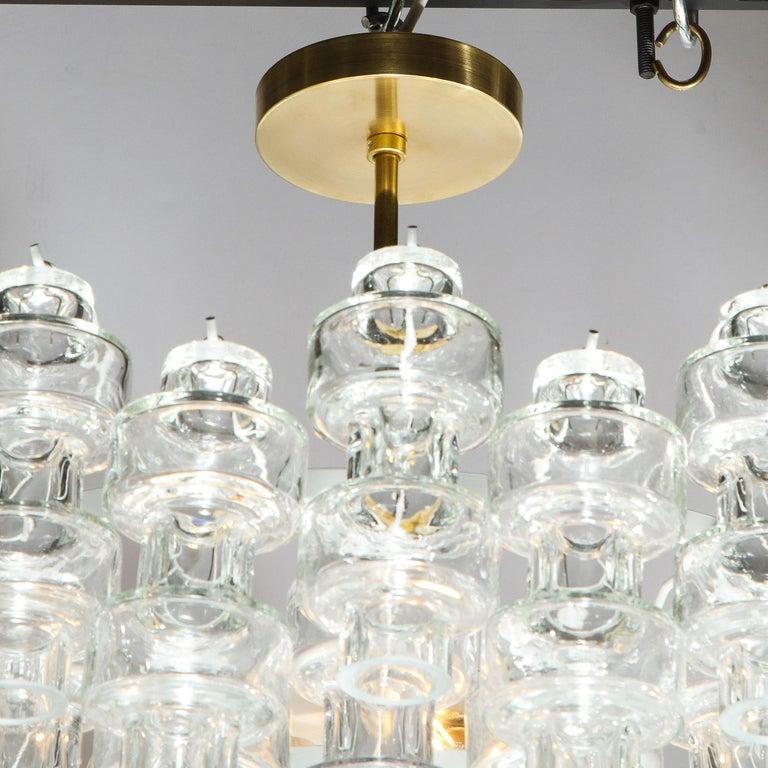 Modernist Polished Brass & Translucent Handblown Murano Glass Barbell Chandelier 2