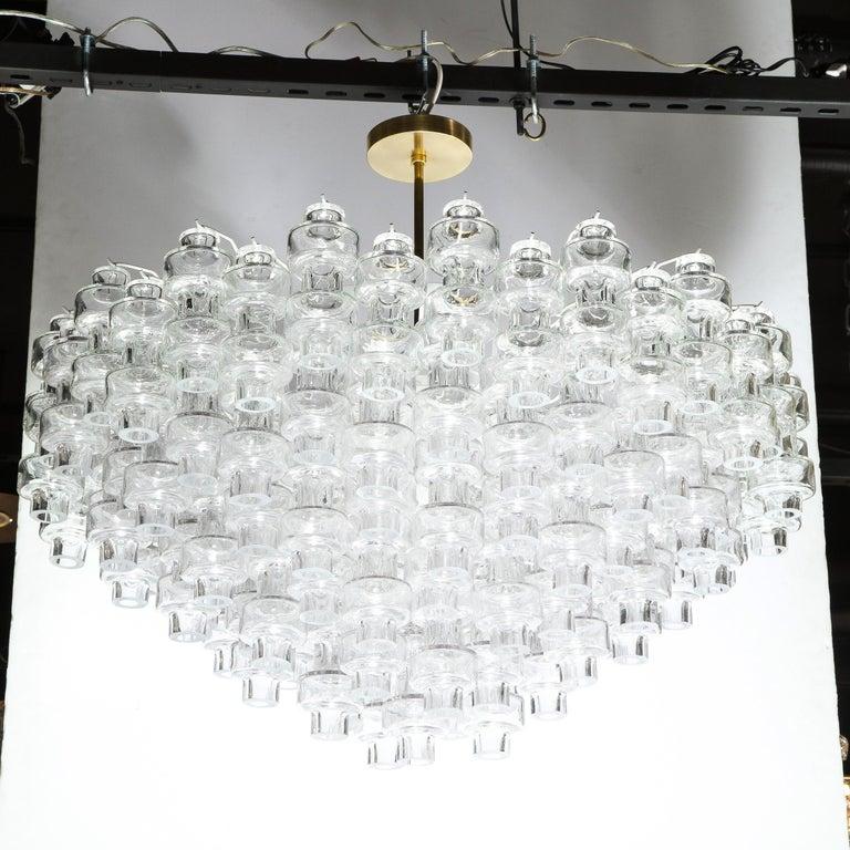Modernist Polished Brass & Translucent Handblown Murano Glass Barbell Chandelier 4
