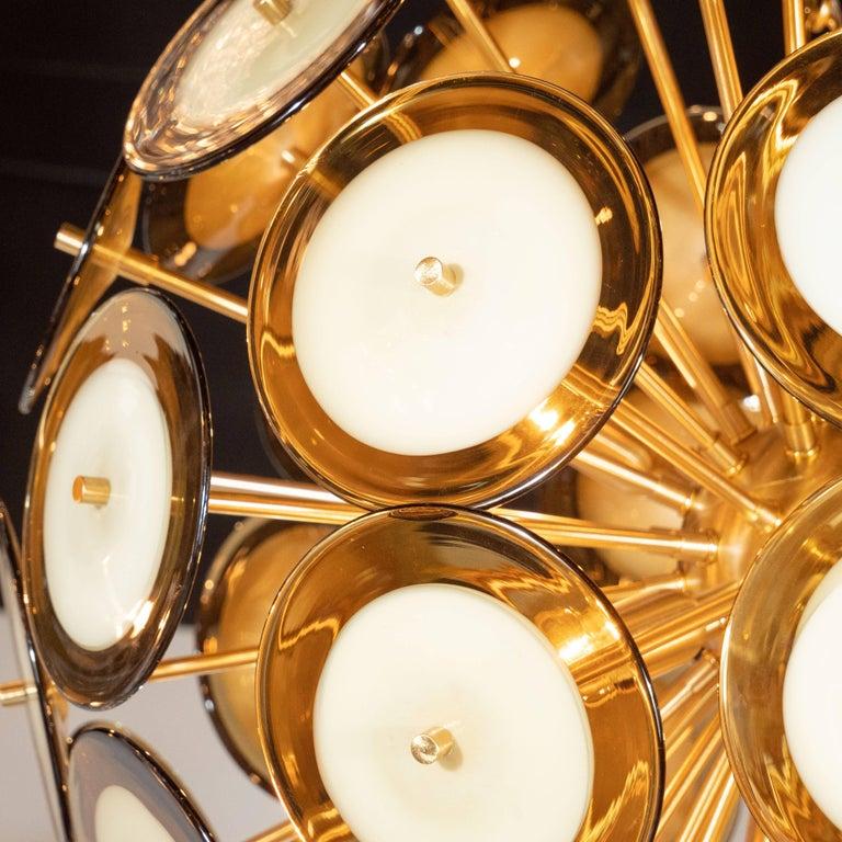 Modernist Polished Brass Vistosi Chandelier with Handblown Murano Topaz Discs For Sale 5