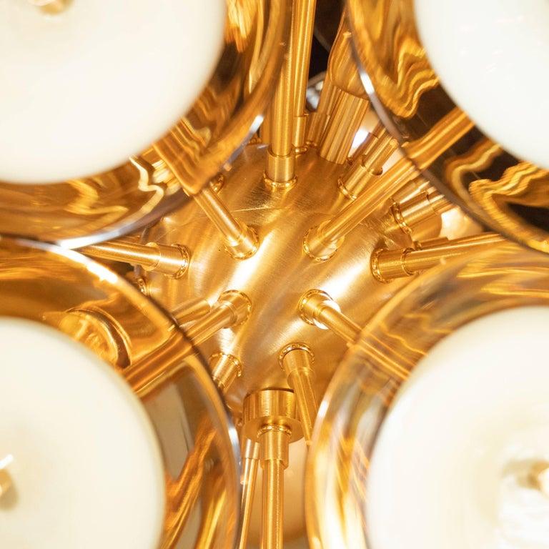 Modernist Polished Brass Vistosi Chandelier with Handblown Murano Topaz Discs For Sale 6